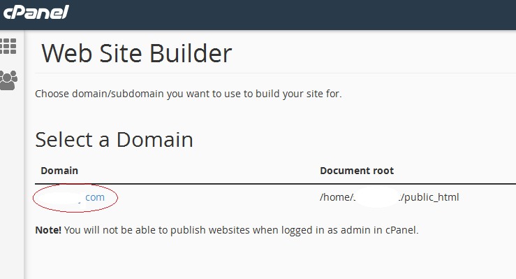 Site builder select domain